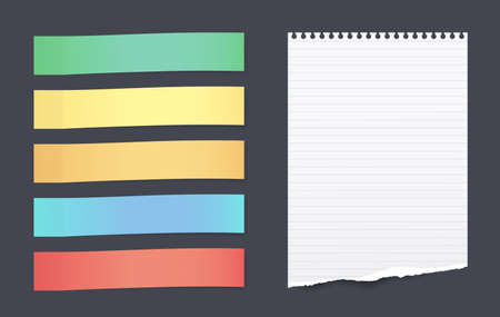 Set of colorful horizontal sticky notes with torn lined paper sheet for text stuck on black background Ilustração
