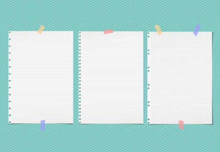 White lined note, notebook paper sheets for text stuck with colorful sticky tape on squared turquoise background. Vettoriali