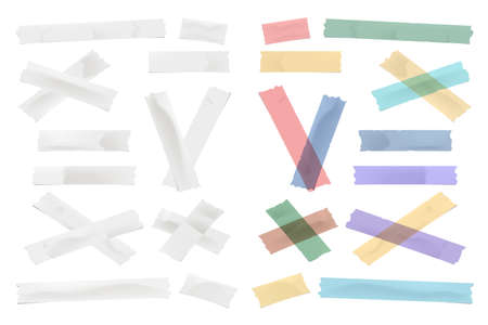 Colorful and white adhesive, sticky, masking, duct tape, paper strips, pieces for text on white background
