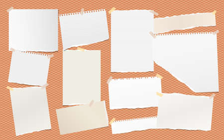 Torn note, notebook paper pieces for text stuck on orange square background. Vector illustration.