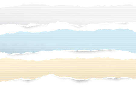 White and colorful ripped lined horizontal note paper strips for text or message stuck on white background