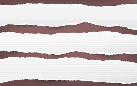 White ripped lined horizontal note paper strips for text or message stuck on brown background Vettoriali
