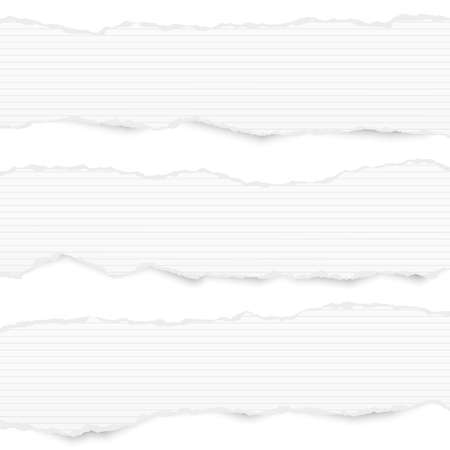 White ripped lined horizontal note paper strips for text or message stuck on white background