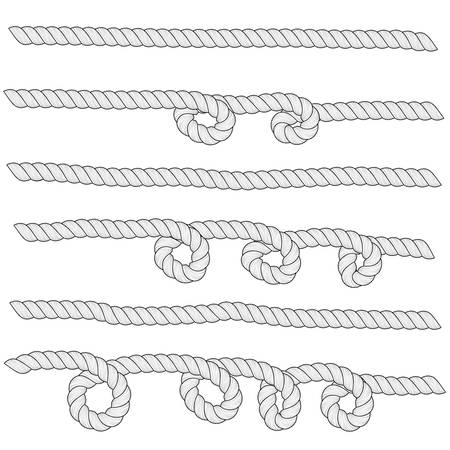 Set of horizontal white ropes with loops are isolated on white background