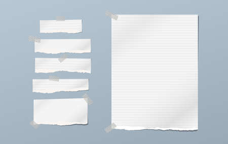 Torn note, notebook paper pieces for text stuck on blue background. Vector illustration.