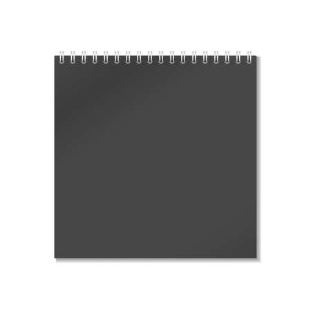 Closed black realistic notepad notebook with spiral is isolated on white background.
