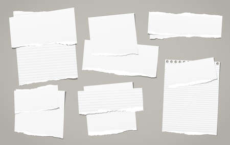 White torn note, notebook paper pieces for text stuck on dark grey background. Vector illustration. Ilustração