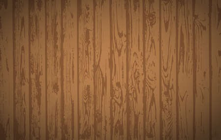 Brown wooden planks, table floor surface. Cutting chopping board. Wood texture. Vector illustration. Stock Illustratie
