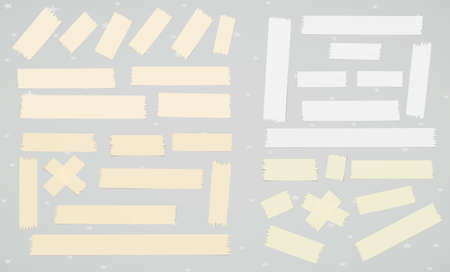 Set of adhesive, sticky, masking, duct tape, paper strips pieces for text on gray background. Illustration