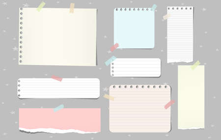 Colorful torn note paper pieces, notebook sheets for text stuck on grey background. Vector illustration