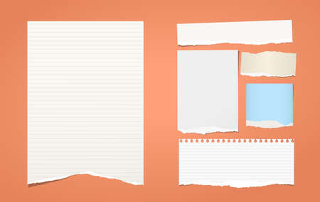 White torn lined note, notebook paper pieces for text stuck on orange background.