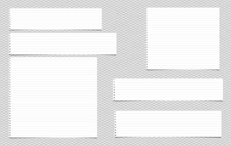 Lined note, notebook paper strips for text stuck on grey squared background. Vector illustration.
