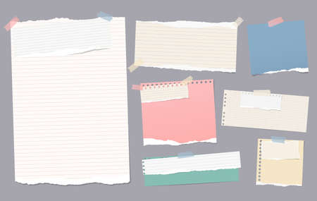 Colorful and white lined torn note, notebook paper pieces for text stuck with sticky tape on gray background. Vector illustration.