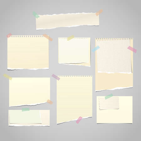 Yellow torn note, notebook paper pieces for text stuck with sticky tape on gray background. Vector illustration.