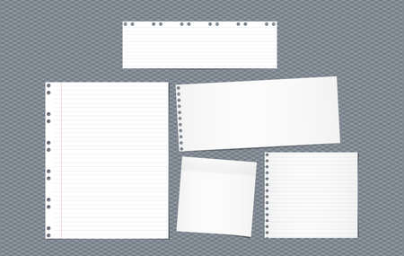 Lined note, notebook paper strips for text stuck with sticky tape on squared brown background. Vector illustration.