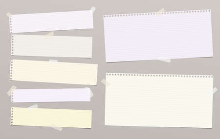 Lined note, notebook paper strips for text stuck with sticky tape on gray background. Vector illustration.