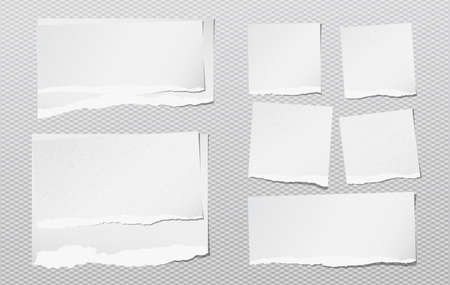 White note, notebook grainy paper pieces with torn edge stuck on squared gray backgroud. Vector illustration.