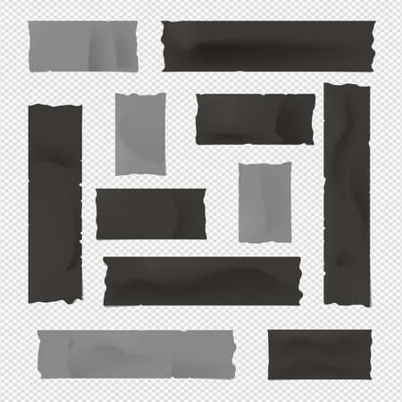Black and gray adhesive, sticky, masking, duct tape, paper strips for text on squared background. 向量圖像