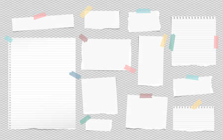 White lined note, notebook paper pieces with torn edges stuck on squared gray backgroud. Vector illustration Banco de Imagens - 115043012