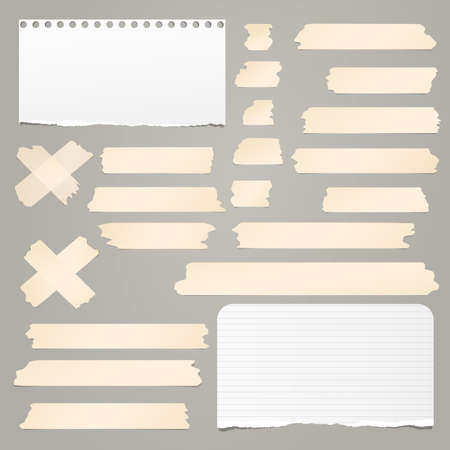 Brown adhesive, sticky, masking, duct tape strips with torn note, notebook paper for text on gray background. Vector illustration.