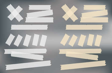 Brown and white adhesive, sticky, masking, duct tape strips for text on gray background. Vector illustration. Illustration