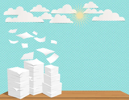 Stack of white sheets and flying paper in turquoise background with clouds and sun.