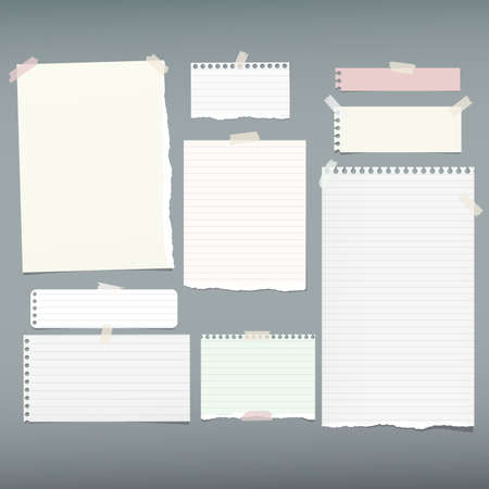 White lined note, notebook paper pieces with torn edges stuck on gray backgroud. Vector illustration