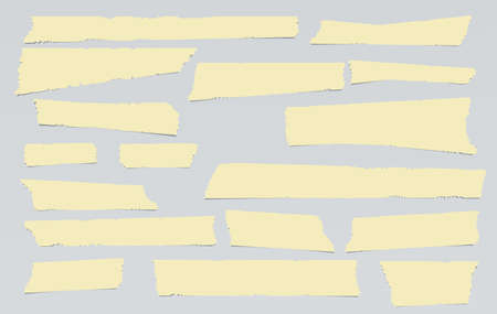 Yellow adhesive, sticky, masking, duct tape, paper strips pieces for text on gray background. Vettoriali