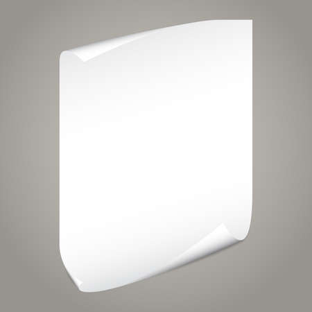 White notebook paper with curled corners for text or advertising message on gray background. Ilustrace