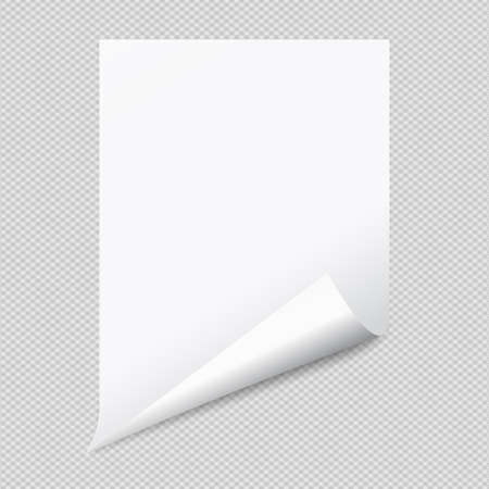 White notebook paper with curled corner for text or advertising message on squared background.