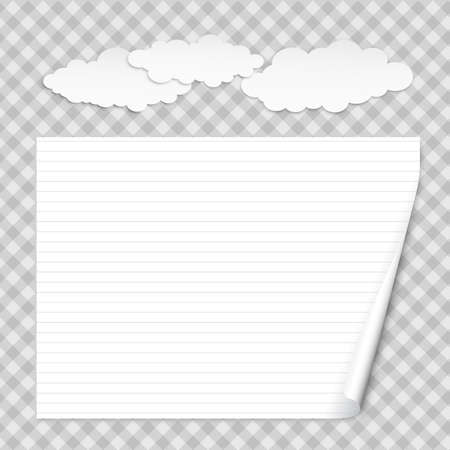White lined notebook paper with curled corner for text or advertising message on squared background with clouds