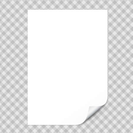 White notebook paper with curled corner for text or advertising message on gray squared background