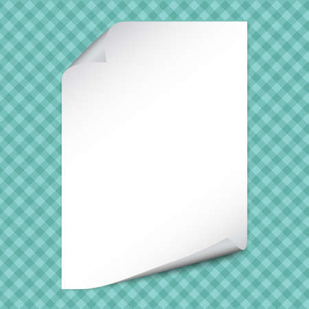 White note notebook paper with curled corners for text or advertising message on squared turquoise background.