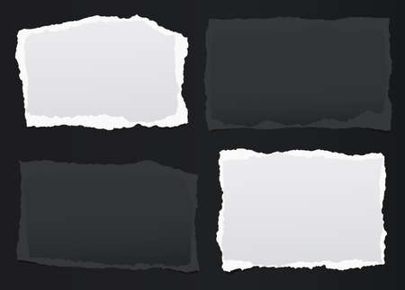 Black, white note, notebook paper pieces with torn edges stuck on black backgroud. Vector illustration