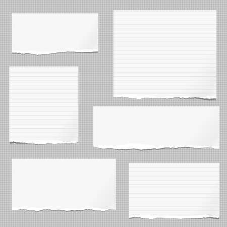White note, notebook paper pieces with torn edge stuck on gray squared backgroud. Vector illustration