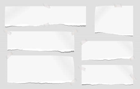White note, notebook paper pieces with torn edge stuck on gray lined backgroud. Vector illustration