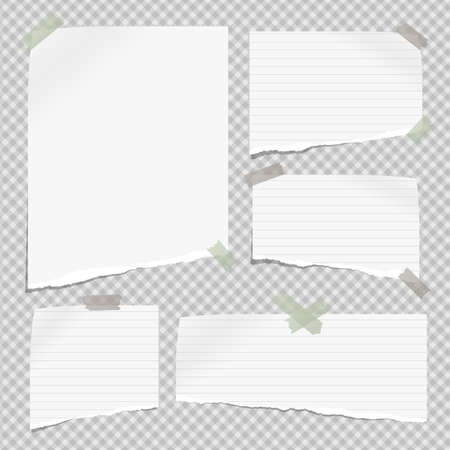 White lined note, notebook paper pieces with torn edges stuck with sticky tape on gray squared backgroud. Vector illustration