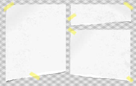White note, notebook paper pieces with torn edges stuck with sticky tape on gray squared backgroud. Vector illustration