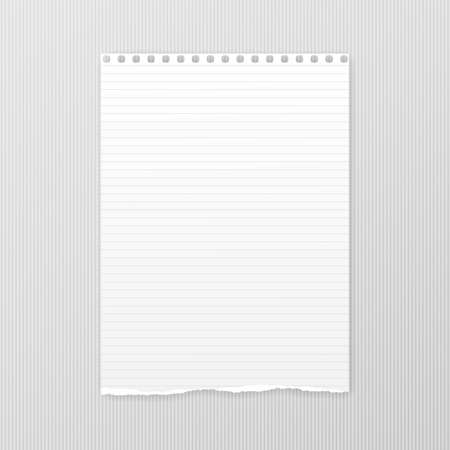 White note, notebook paper with torn edge stuck on gray squared backgroud. Vector illustration. Reklamní fotografie