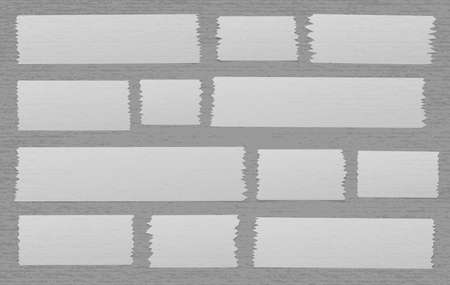 White adhesive, sticky, masking, duct tape strips for text on gray spotted background. Vector illustration.