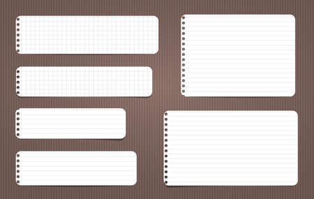 White lined and squared note, notebook paper stuck on brown lined backgroud. Vector illustration. Banco de Imagens