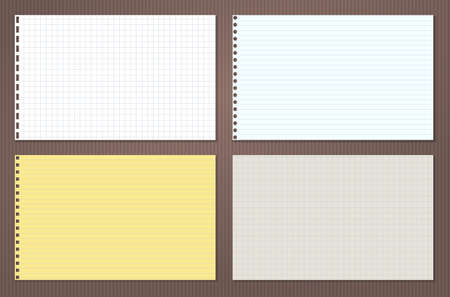 Yellow, white lined and squared note, notebook paper stuck in horizontal pozition on brown background. Vector illustration Ilustração