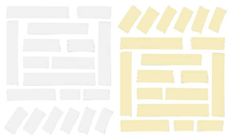 White and yellow adhesive, sticky, masking, duct tape for text on white background Standard-Bild - 109906683