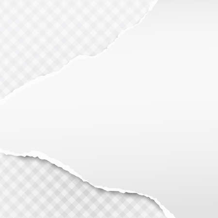 White horizontal ripped strips, note paper for text or message on squared gray background.