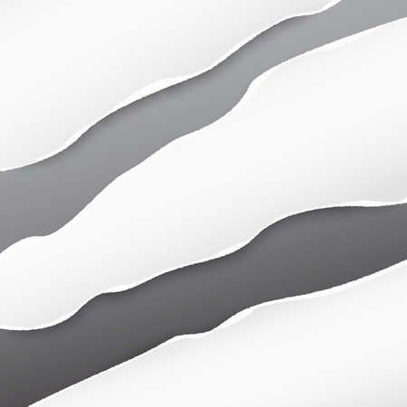 White ripped strips, note paper for text or message on gray background. Ilustração