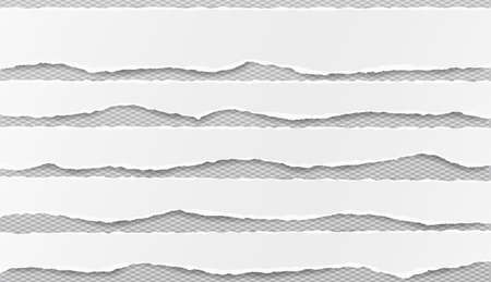 Set of white horizontal ripped paper strips, torn note paper for text or message on gray squared background. 일러스트