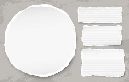 White round ripped paper with torn note strips for text or message on grunge stained background. Vector illustration. Stock fotó