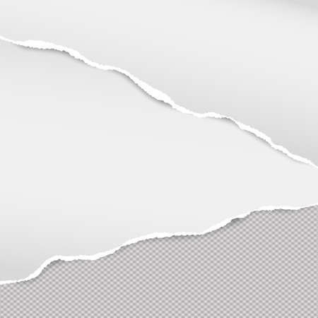White ripped note paper strips for text or message on squared gray background. Illustration