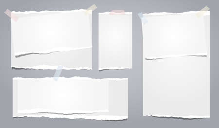 White ripped notebook paper, torn note paper strips stuck on grey background. Vector illustration.