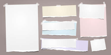 White and colorful ripped notebook paper, torn note paper strips stuck on brown background. Vector illustration.
